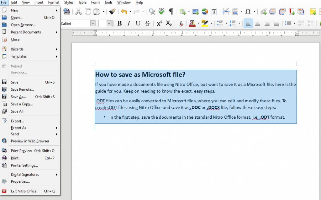 How to save as Microsoft file