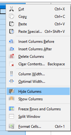 Hiding and Showing Rows, Columns