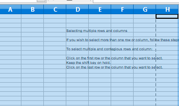 Selecting multiple rows and columns