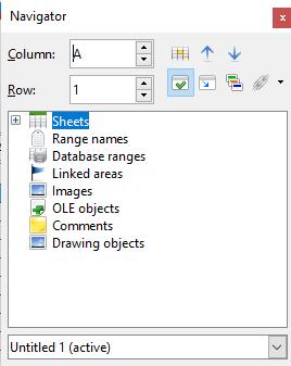 navigate through spreadsheets